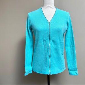 Calvin Klein light blue zippered cardigan